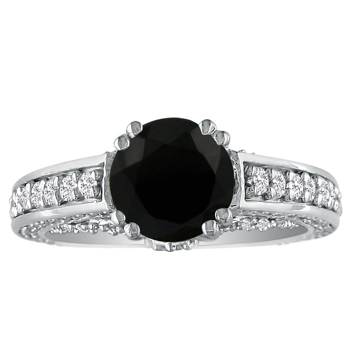Hansa 2 Carat Black Diamond Round Engagement Ring in 18k White Gold (H-I, SI2-I1)