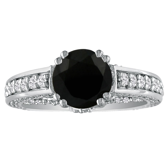 3 1/4 Carat Black Diamond Round Engagement Ring in 18k White Gold, ,  by Sup..