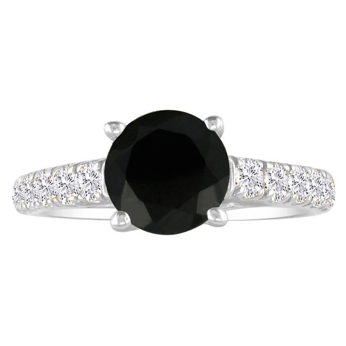 Hansa 1 Carat Black Diamond Round Engagement Ring in 14k White Gold, I-J, I2-I3