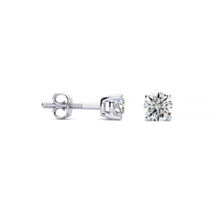 1/4 Carat Round Diamond Stud Earrings in Platinum, G/H, VS/SI by