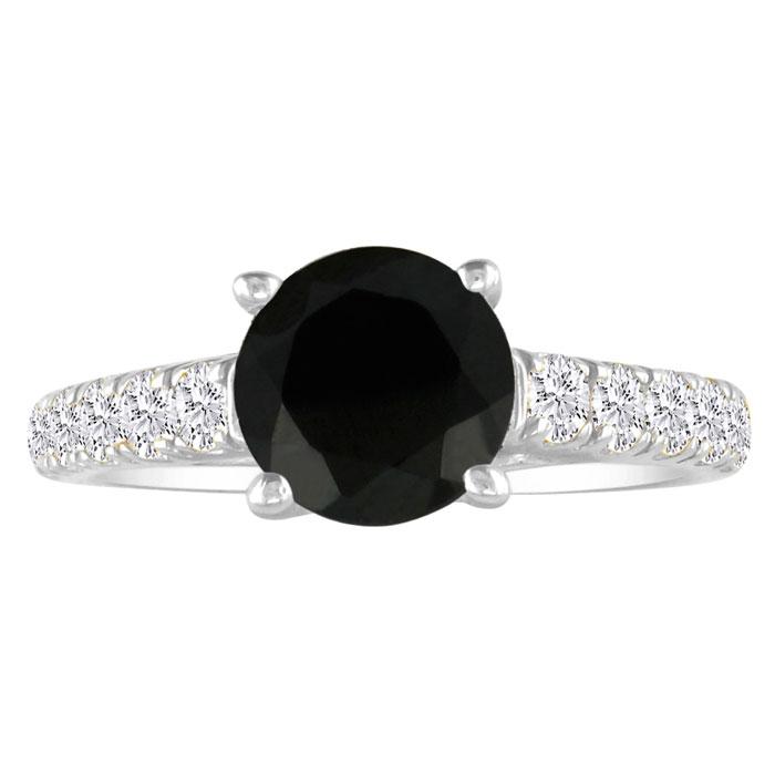 Hansa 2ct Black Diamond Round Engagement Ring in 18k White Gold, I-J, I2-I3, Available Ring Sizes 4-9.5