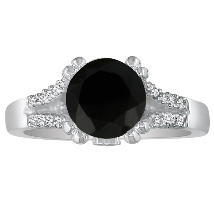 Hansa 2/3ct Black Diamond Round Engagement Ring in 14k White Gold, I-J, I2-I3, Available Ring Sizes 4-9.5