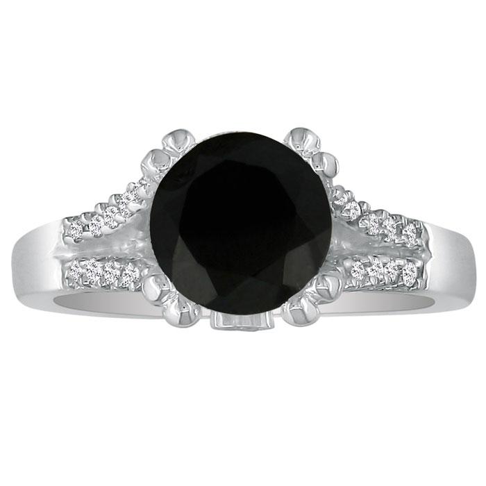 Hansa 1 1/4ct Black Diamond Round Engagement Ring in 14k White Gold, I-J, I2-I3, Available Ring Sizes 4-9.5