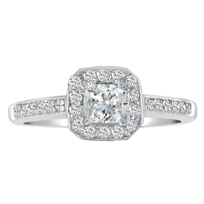 1 Carat Princess Cut Halo Diamond Engagement Ring in 18k White Gold (H-I, SI2-I1) by Hansa