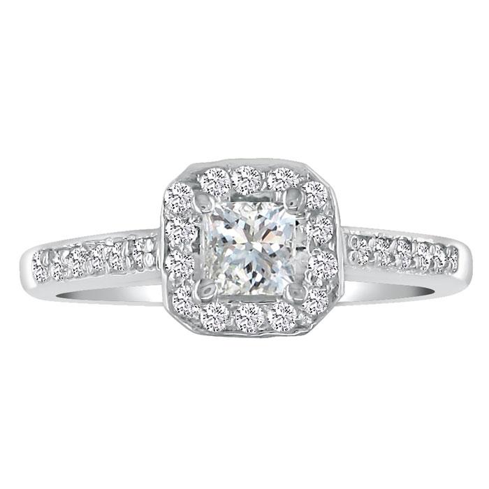 1 Carat Princess Cut Halo Diamond Engagement Ring in 18k White Go