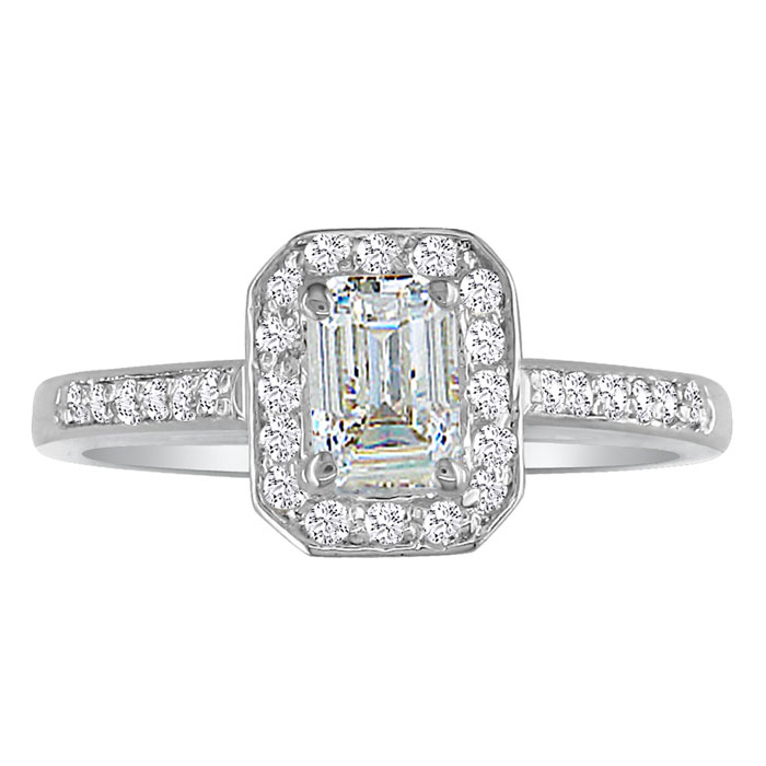 1 1/3 Carat Emerald Cut Diamond Halo Engagement Ring in 14k White
