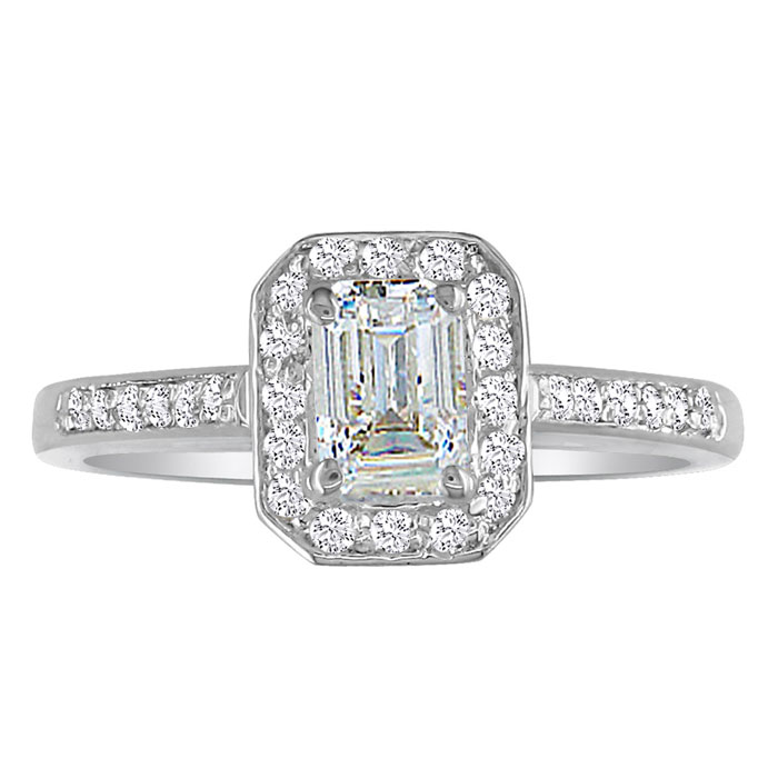 2 Carat Emerald Cut Diamond Halo Engagement Ring in 14k White Gold, H/I by Hansa