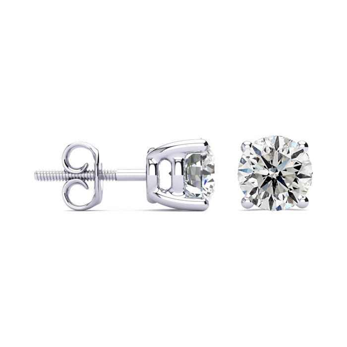 2 Carat Diamond Stud Earrings Set in Platinum, G/H by Hansa