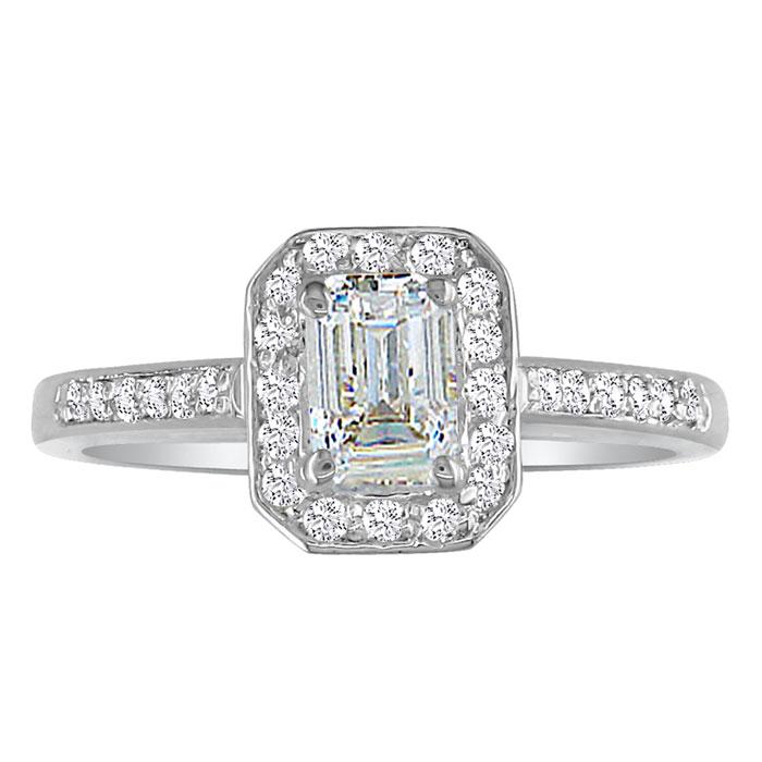 2 Carat Emerald Cut Diamond Halo Engagement Ring in 18k White Gol