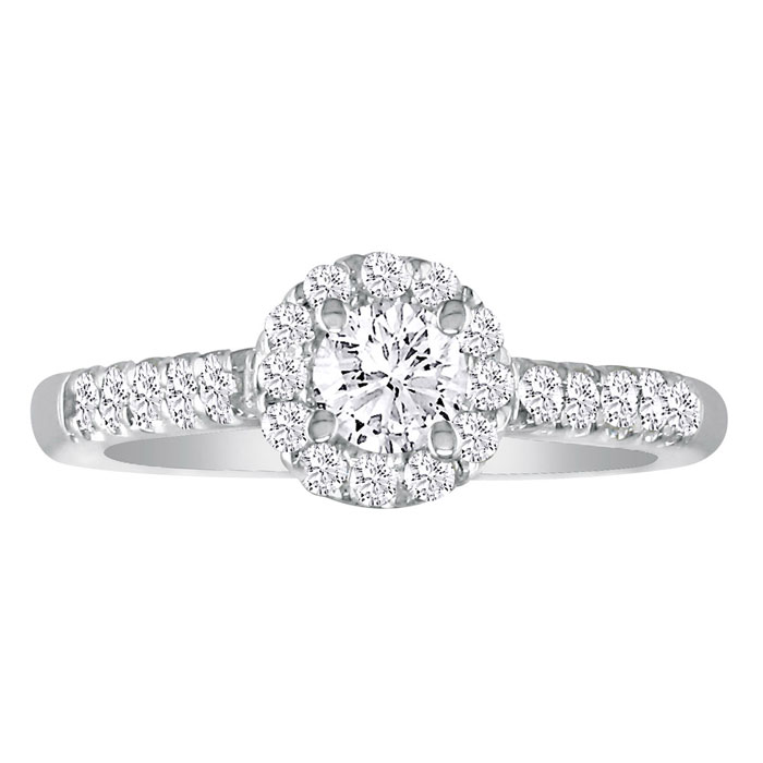 1 Carat Round Halo Diamond Engagement Ring in 18k White Gold, I-J, SI2-I1 by Hansa