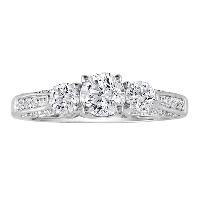 Hansa 1.5 Carat Diamond Round Engagement Ring in 14k White Gold (H-I, SI2-I1)