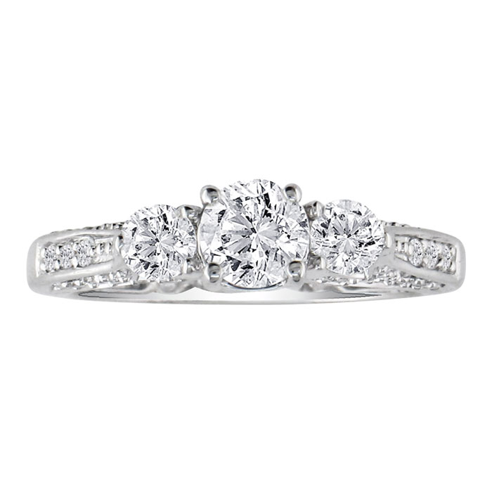 Image of Hansa 3ct Diamond Round Engagement Ring in 18k White Gold, H-I, SI2-I1, Available Ring Sizes 4-9.5