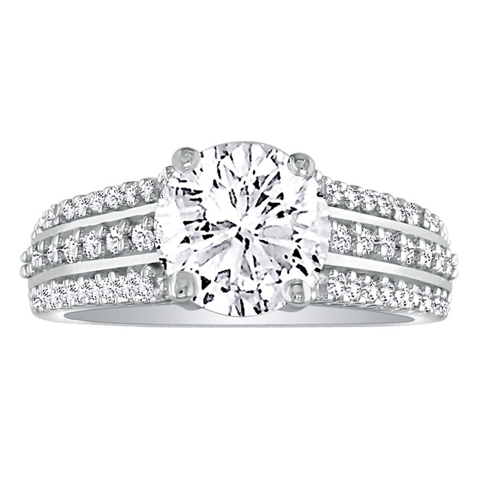 1 1/3 Carat Round Diamond Engagement Ring in 14k White Gold (H-I, SI2-I1) by Hansa