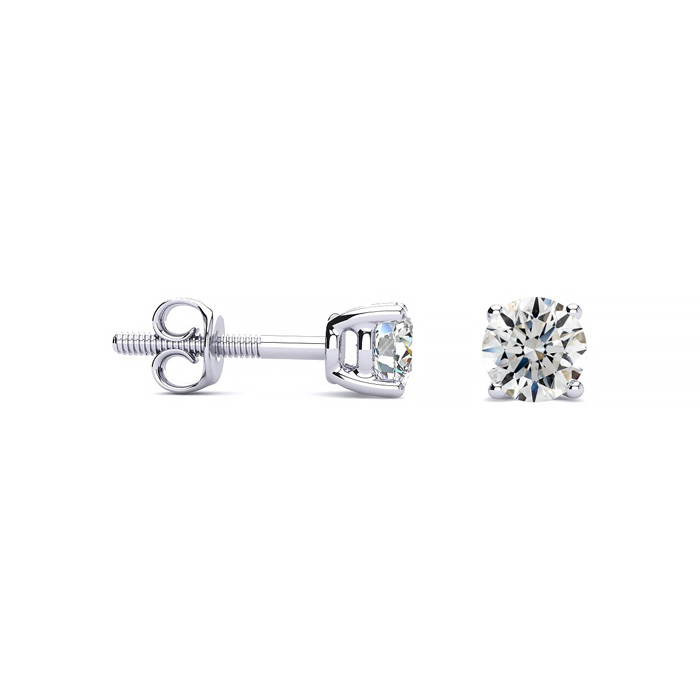 1/2 Carat Fine Quality Diamond Stud Earrings in Platinum, I/J by