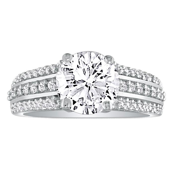 Hansa 1 1/3 Carat Diamond Round Engagement Ring in 18k White Gold (H-I, SI2-I1)