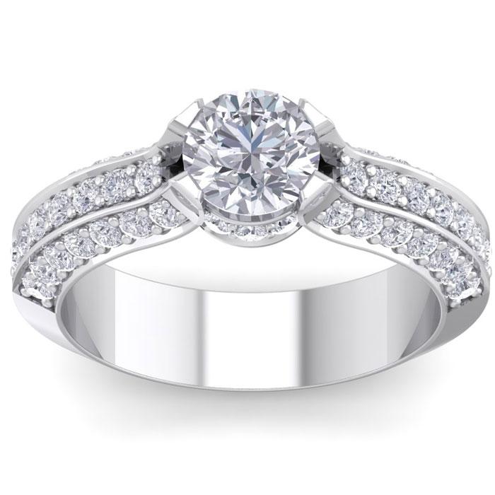 1 3/4 Carat Round Shape Diamond Engagement Ring in 14K White Gold