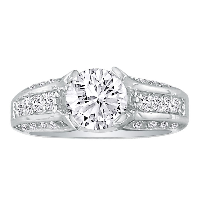 Image of Hansa 3.66ct Diamond Round Engagement Ring in 14k White Gold, H-I, SI2-I1, Available Ring Sizes 4-9.5