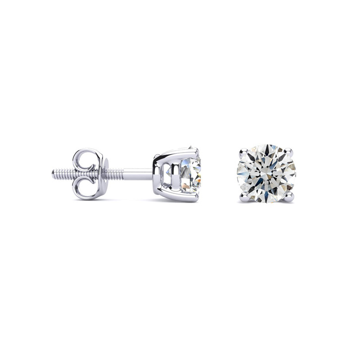1 Carat Fine Quality Diamond Stud Earrings in Platinum, I/J by Ha