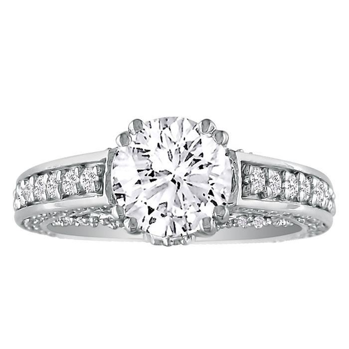 Hansa 1.90 Carat Diamond Round Engagement Ring in 18k White Gold