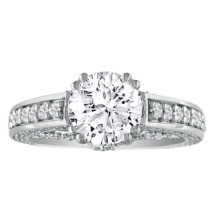 2 Carat Round Diamond Engagement Ring in 18k White Gold (H-I, SI2-I1) by Hansa
