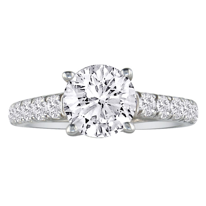 3/4 Carat Round Diamond Engagement Ring in 18k White Gold (H-I, SI2-I1) by Hansa