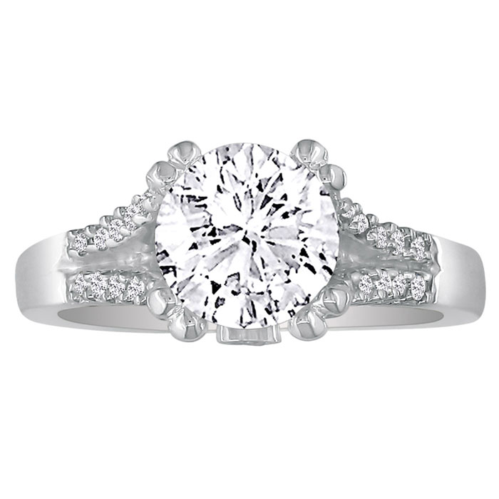 Hansa 2/3ct Diamond Round Engagement Ring in 14k White Gold, H-I,SI2/ I1, Available Ring Sizes 4-9.5