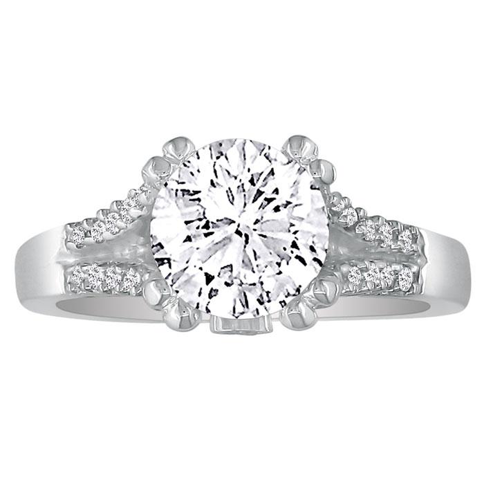 Hansa 1 Carat Diamond Round Engagement Ring in 14k White Gold, H-