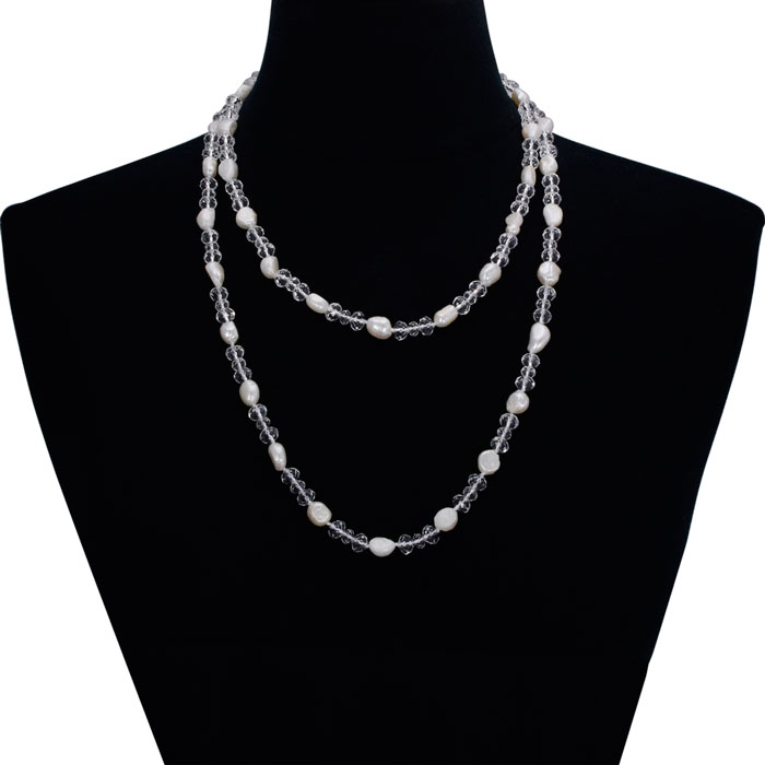 Double Strand Pearl & Crystal Necklace, 36 Inch Chain by SuperJeweler