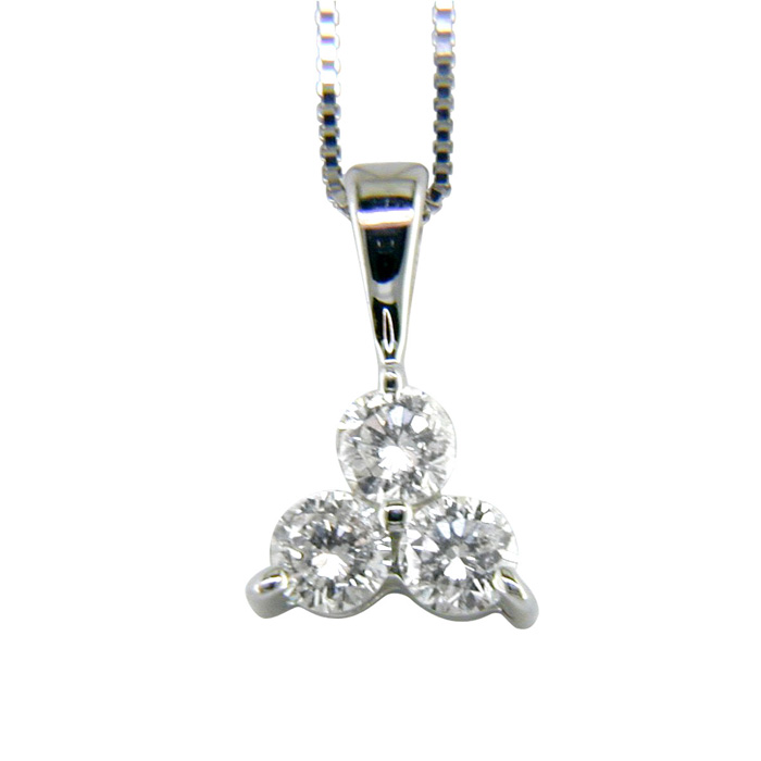 1 Carat Three Diamond Triangle Style Diamond Pendant Necklace in