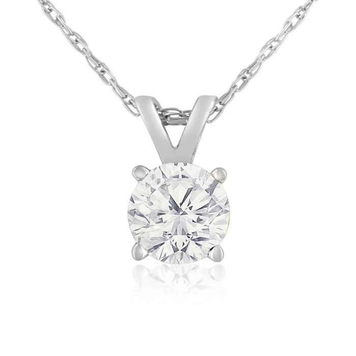 2/3 Carat 14k White Gold Diamond Pendant Necklace, K/L, 18 Inch C