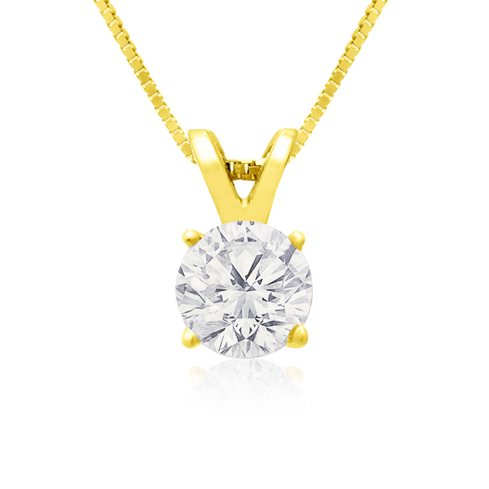 Pretty 2/3 Carat 14k Yellow Gold Diamond Pendant Necklace, K/L, 1