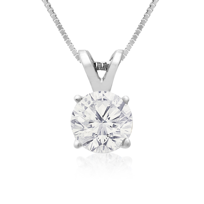 3/4 Carat 14k White Gold Diamond Pendant Necklace On Gold Box Cha