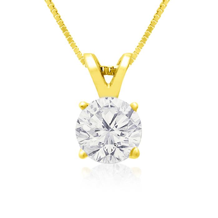 Pretty 3/4 Carat 14k Yellow Gold Diamond Pendant Necklace, K/L, 18 Inch Chain by SuperJeweler