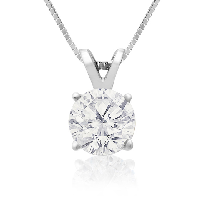 .85 Carat 14k White Gold Diamond Pendant Necklace, K/L, 18 Inch C