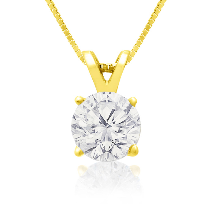 .85 Carat 14k Yellow Gold Diamond Pendant Necklace, K/L, 18 Inch