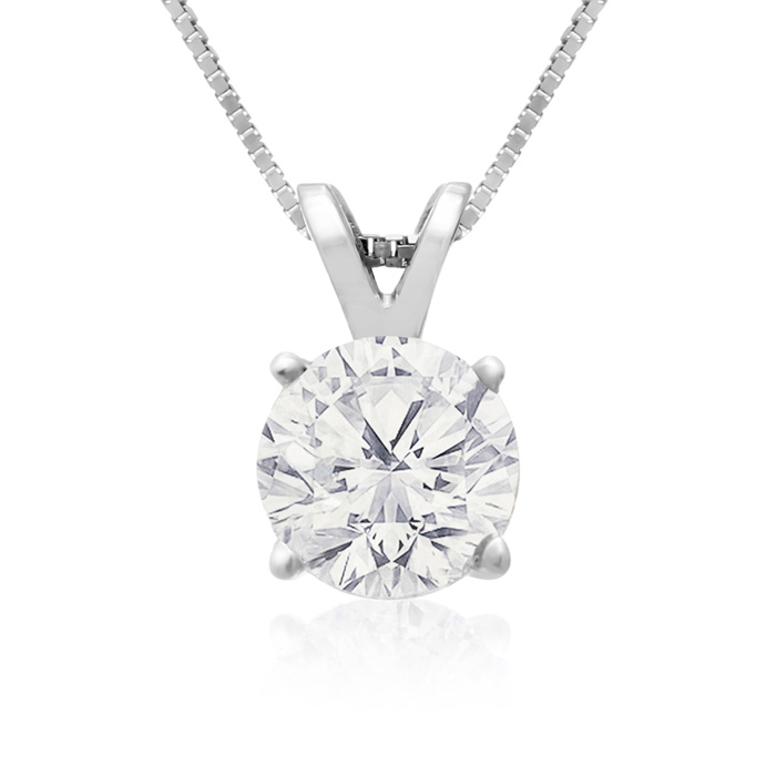 1 Carat 14k White Gold Diamond Pendant Necklace, 2 Stars, J/K, 18