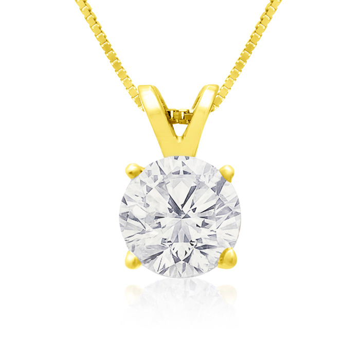 1 Carat 14k Yellow Gold Diamond Pendant Necklace, 2 Stars, J/K, 1