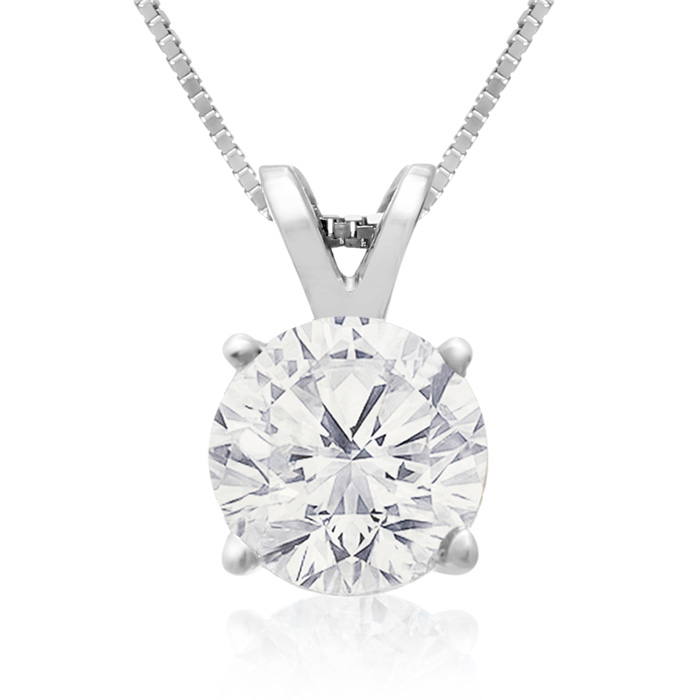 1.50 Carat 14k White Gold Diamond Pendant Necklace, 2 Stars, J/K,