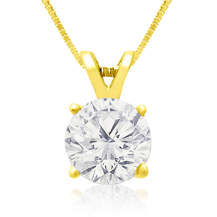 1.50 Carat 14k Yellow Gold Diamond Pendant Necklace, 4 stars, G/H