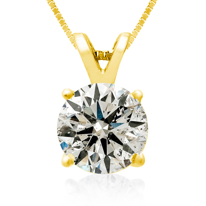2 Carat Diamond Pendant Necklace in 14k Yellow Gold, K/L, 18 Inch Chain by Hansa