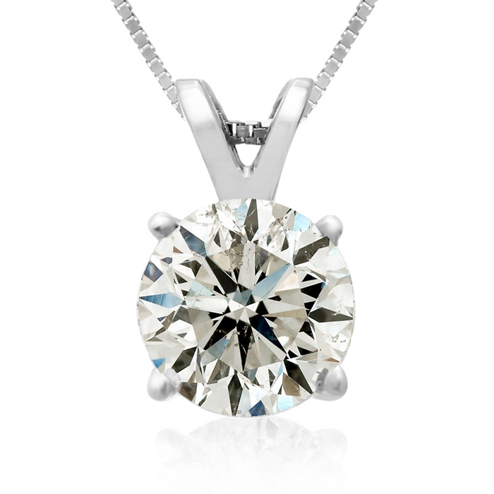 2 Carat 14k White Gold Diamond Pendant Necklace, 2 Stars, J/K, 18