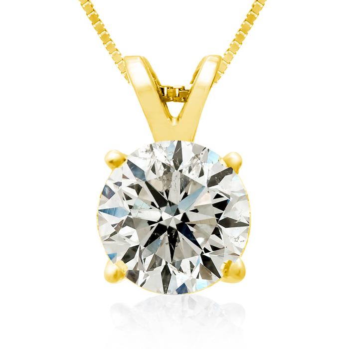 2 Carat 14k Yellow Gold Diamond Pendant Necklace, J/K, 18 Inch Chain by Hansa