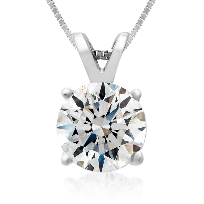 Fine 2 Carat 14k White Gold Diamond Pendant Necklace, H/I, 18 Inch Chain by Hansa