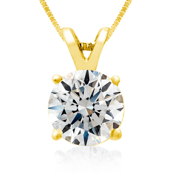 Fine 2 Carat 14k Yellow Gold Diamond Pendant Necklace, H/I, 18 In