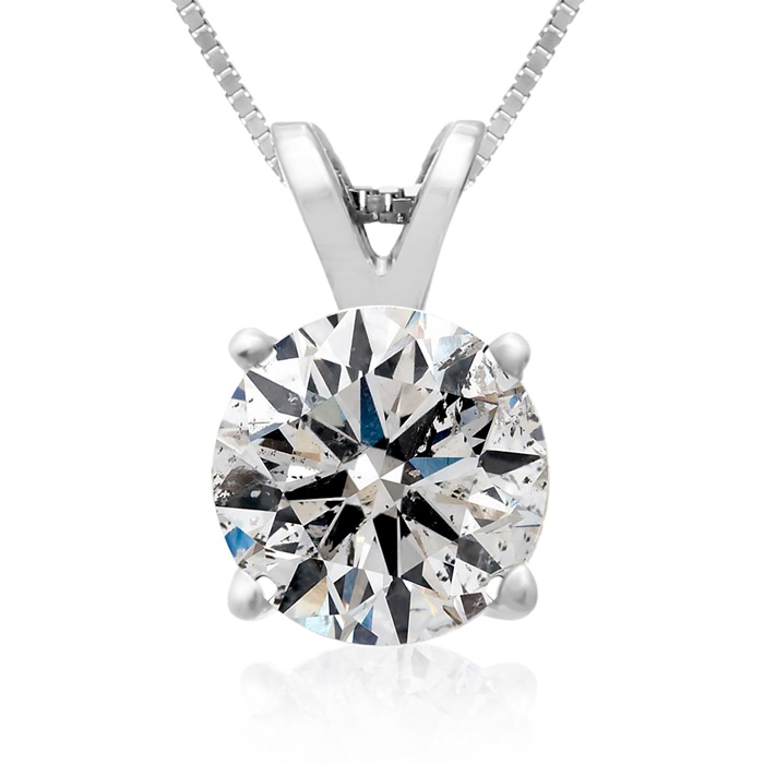 2 Carat 14k White Gold Diamond Pendant Necklace, 4 stars, G/H, 18 Inch Chain by Hansa