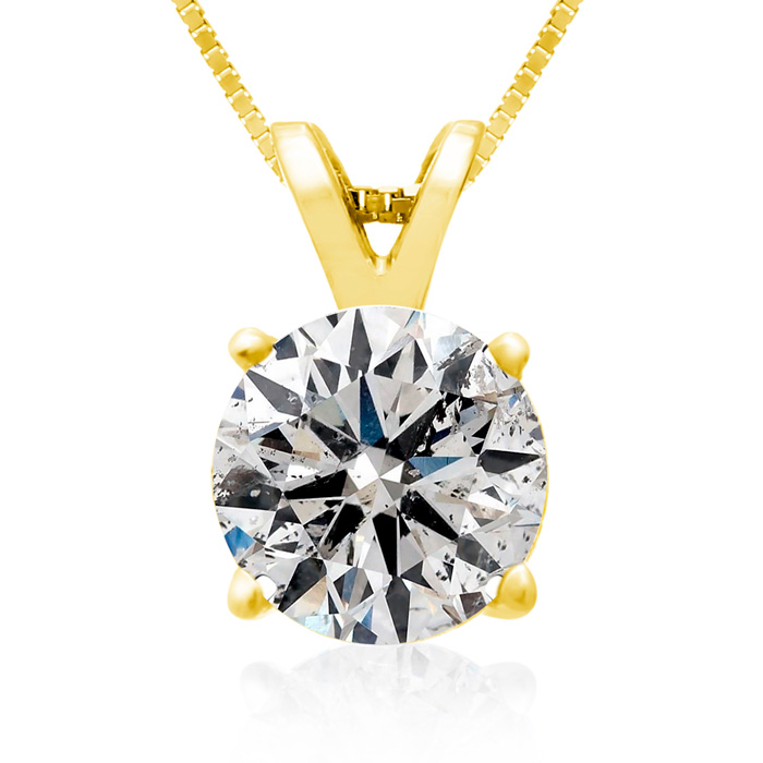 2 Carat 14k Yellow Gold Diamond Pendant Necklace, 4 stars, G/H, 18 Inch Chain by Hansa