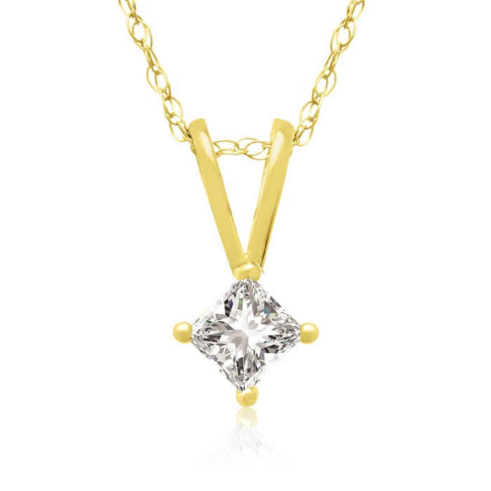 1/6 Carat 14k Yellow Gold Princess Cut Diamond Pendant Necklace,