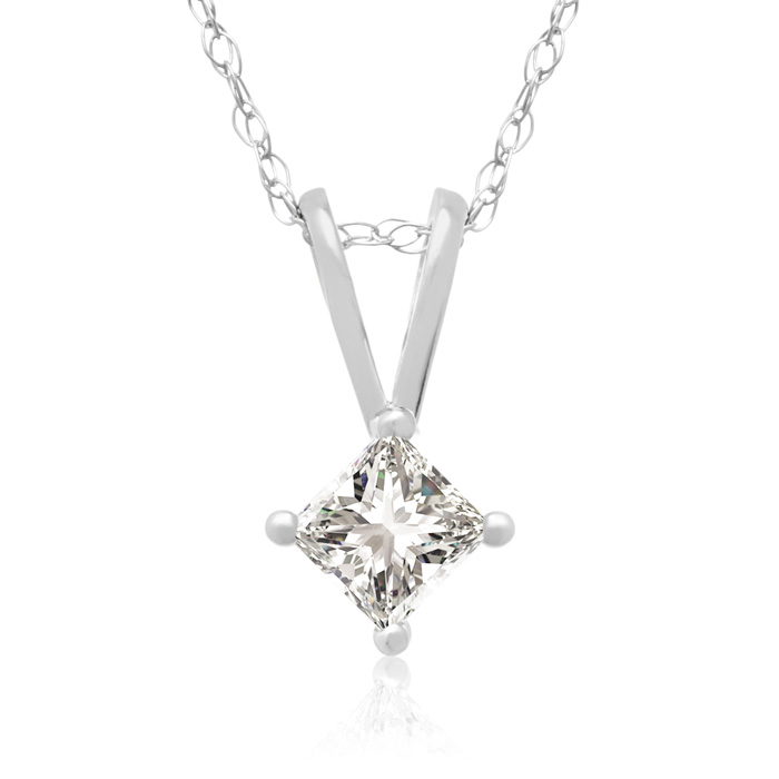 1/5 Carat 14k White Gold Princess Cut Diamond Pendant Necklace, J