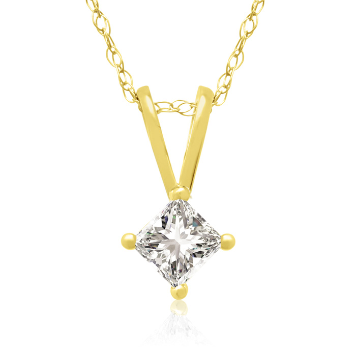 1/5 Carat 14k Yellow Gold Princess Cut Diamond Pendant Necklace,