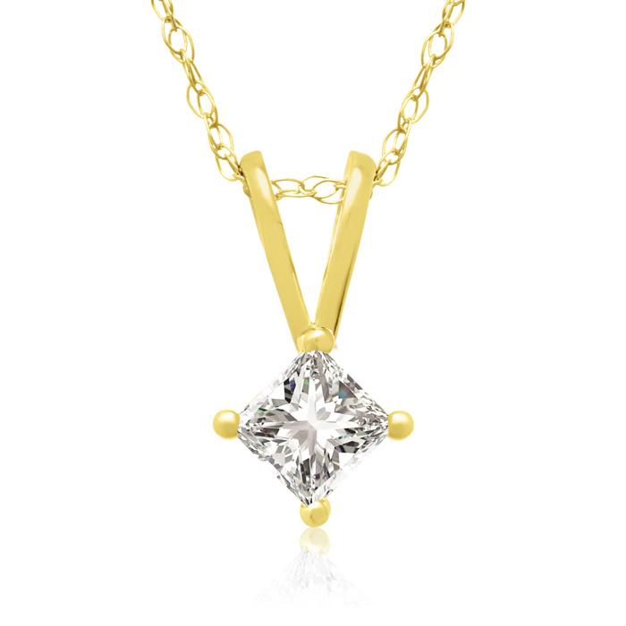 1/5 Carat 14k Yellow Gold Princess Cut Diamond Pendant Necklace, G/H, 18 Inch Chain by Hansa